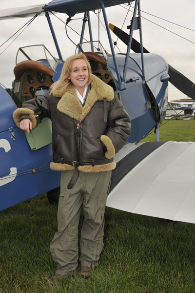 tiger moth flight experience student posing