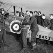 tiger moth pilots preparing for flight