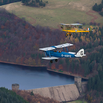 tiger moths over dam